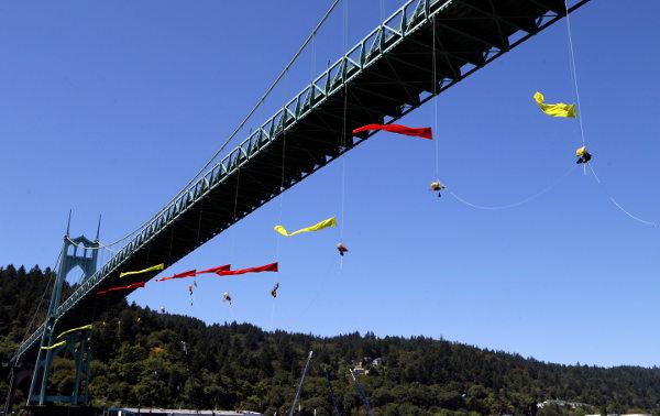 greenpeace activists portland shell bridge