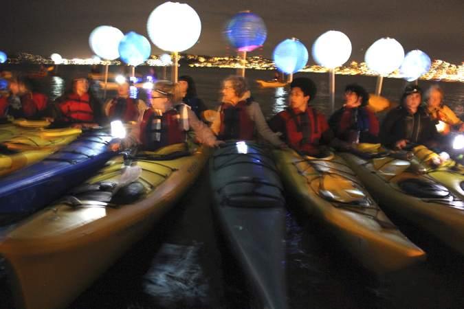 kayaks at night